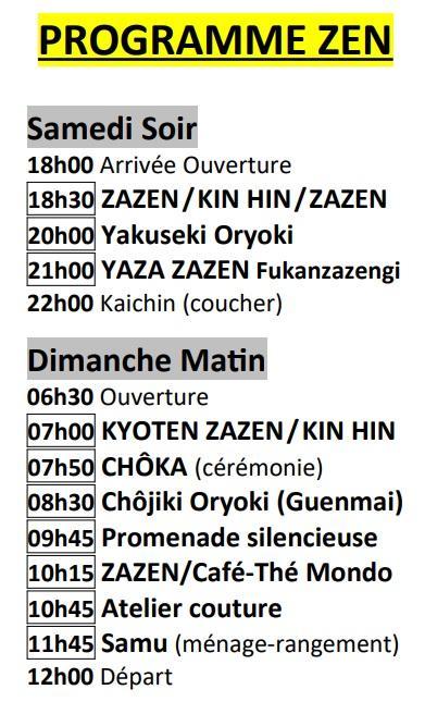 Programme horaire zazenkai